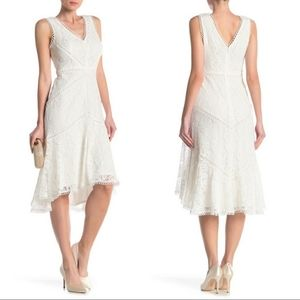 Taylor Off White Sleeveless Lace Dress